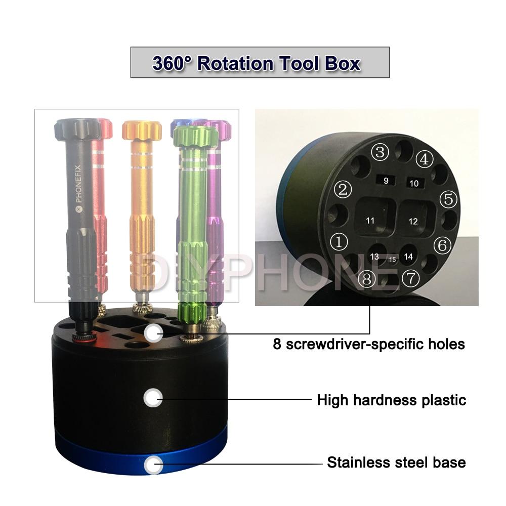 Phonefix 360 rotação caixa de ferramentas chave de fenda titular de armazenamento desktop 8 pcs chaves de fenda furos específicos dureza plástico mão