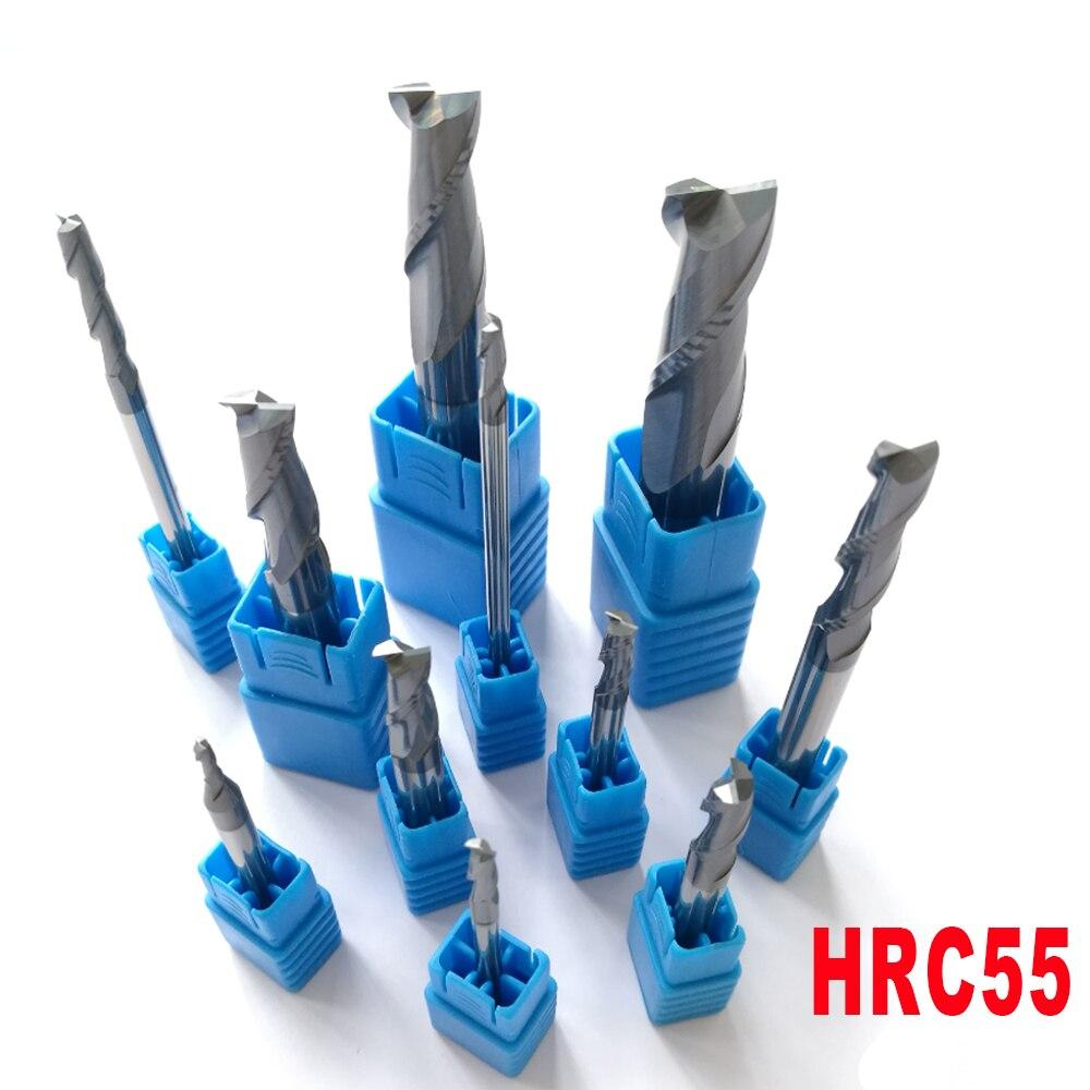 2mm 3mm 4mm 5mm 6mm 8mm 10mm 12mm 2 Flöten HRC55 Hartmetall Flach platz Schaftfräser Spiral Bits CNC Schaftfräser Fräser Bits