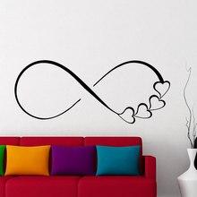 Autocollants muraux signe de coeur et symbole infini   Étiquette autocollante de famille, décoration de maison pour chambre à coucher, cadeau de mariage pour Couples LV14