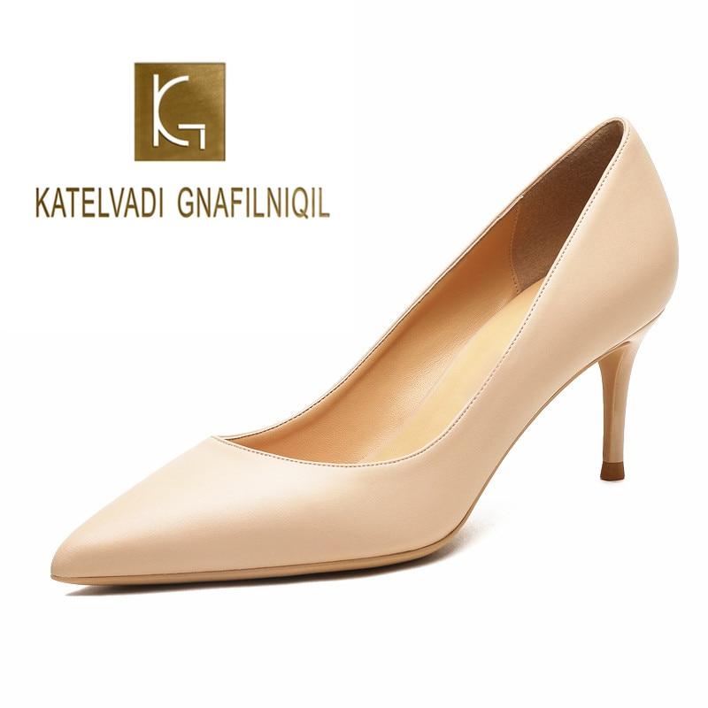 KATELVADI أحذية السيدات البيج انقسام الجلود 6.5 سنتيمتر حذاء حريمي كعب عالي النساء أحذية Sapato Feminino الأحذية حجم 34-42 K-324