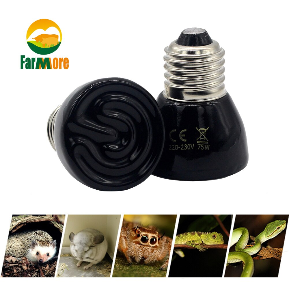 25/50/75/100W Infrared Lamp Pet Heating Bulb Small Ceramic Heater Lamp Ceramic Infrared Bulb Turtle Lizard Pet Reptile Supplies
