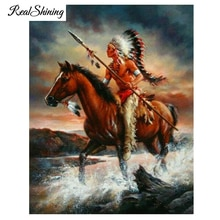 REALSHINING diy 5d diamond painting full square Cross Stitch Indian Man Ride Horse Mosaic Diamond Embroidery Wall Sticker FS2099