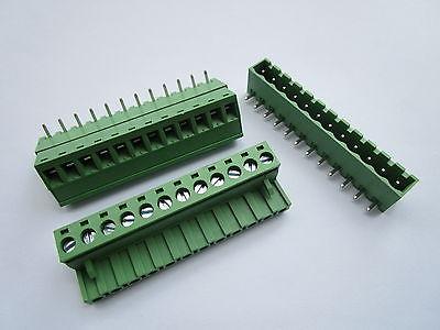 Conector de bloque de terminales de tornillo de 12 Pines de ángulo cerrado de 20 Uds 5,08mm tipo enchufable