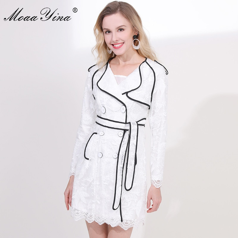 MoaaYina Fashion Designer Jacket jacket spring Autumn Women Floral Embroidery Double-breasted Casual Elegant White Jacket jacket moaayina fashion designer runway dress spring summer women dress lace floral embroidery black elegant dresses