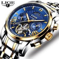 2019 New Automatic Mechanical Watch LIGE Top Brand Luxury Tourbillon Sport Men Watches Male Casual Waterproof Date Watch Men+Box