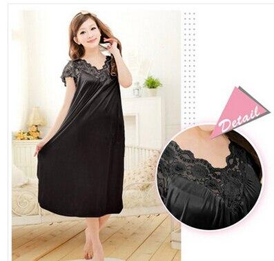 Envío Gratis, camisón sexy de encaje negro para mujeres, bata de baño de talla grande para chicas, ropa de cama tamaño grande, camisón Y02-2