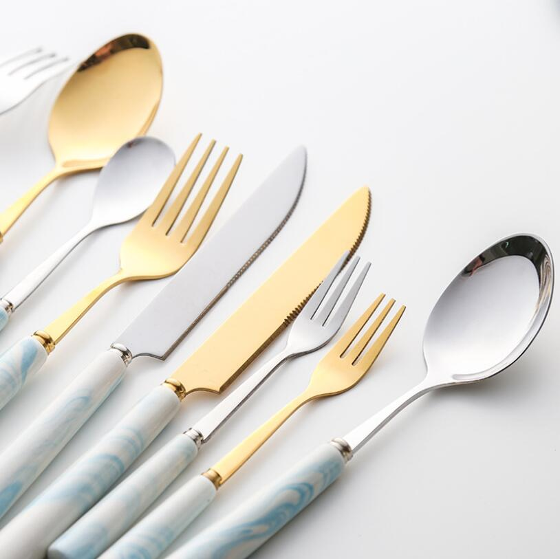 Mármol oro plata Acero inoxidable cubiertos vajilla bistec cuchillo postre tenedor cuchara café cena tenedor cuchara