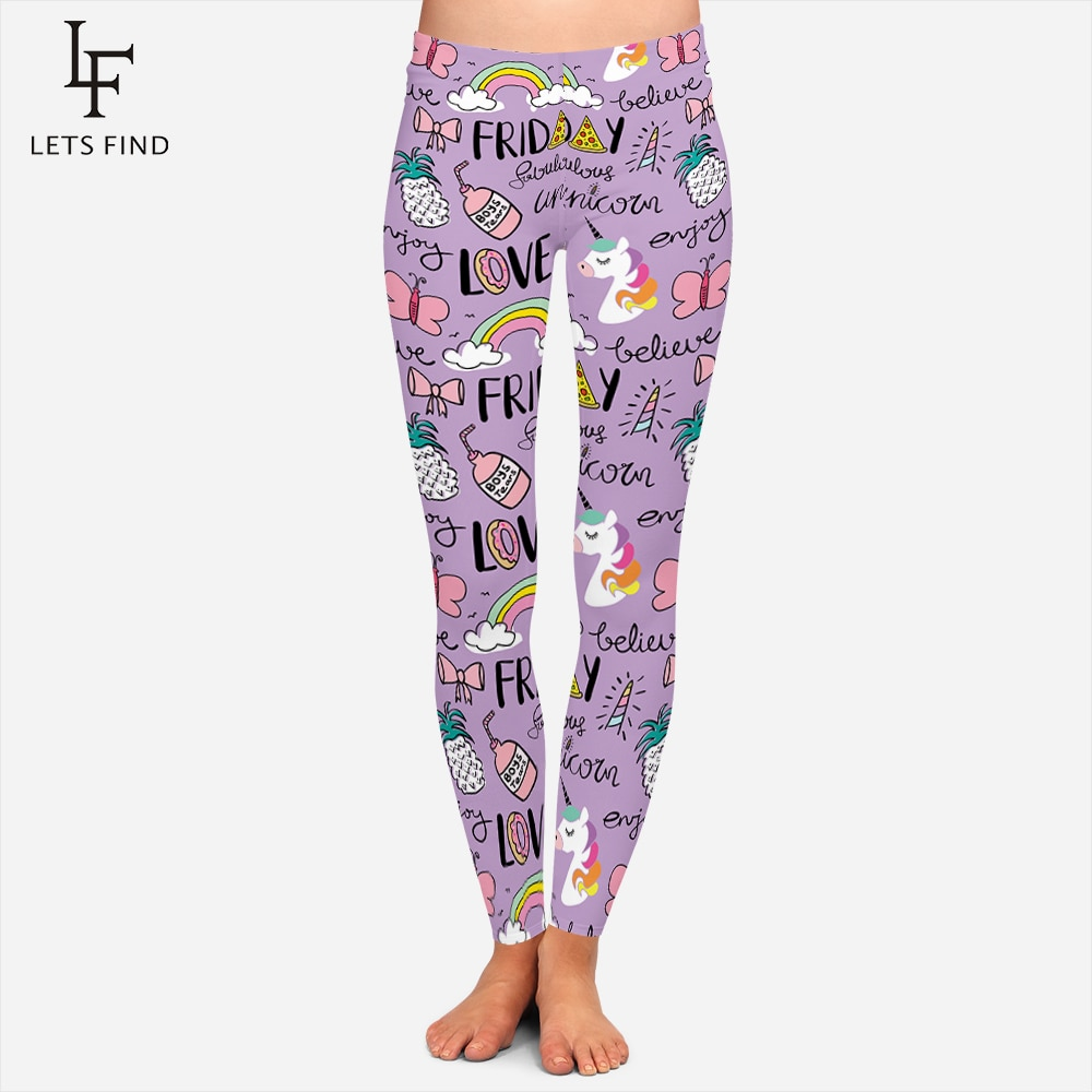 2019 nuevas polainas lindas coloridas de unicornio para mujer 3d estampado mariposa Arco Iris letra moda púrpura invierno cálido Leggings