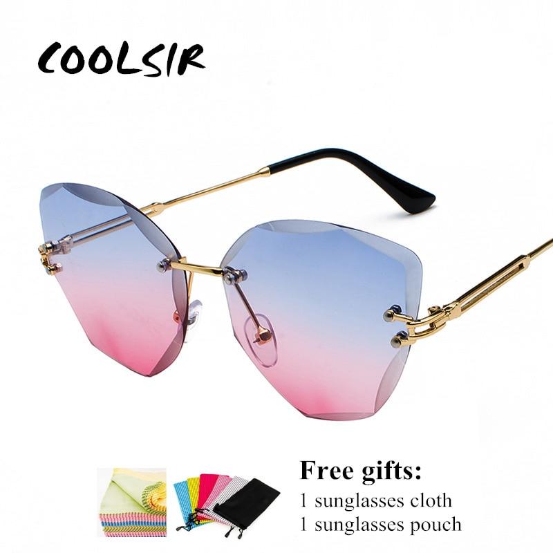 Nuevas gafas de sol sin montura de verano para mujer, gafas de sol con recorte de diamantes, lentes transparentes con gradiente de Metal, gafas de Cateye de alta calidad