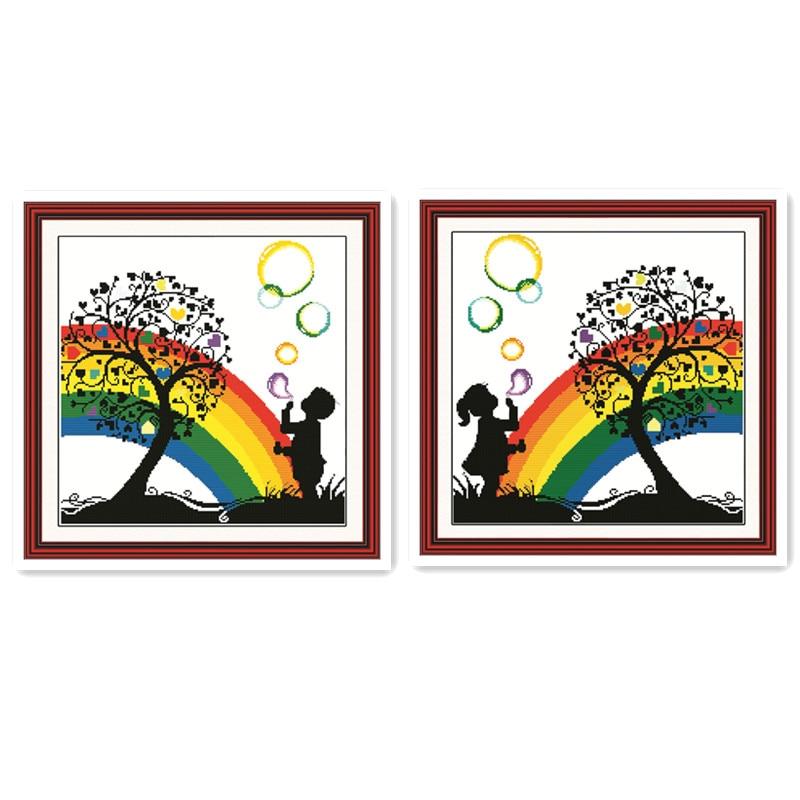 Burbuja de arco iris DIY punto de cruz pintura de bordado Niño niña soplando burbujas bajo el árbol feliz infancia ilustración