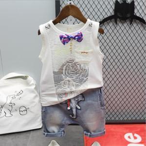 2020 summer new boy suit children's wild mesh vest + jeans two-piece children's cotton two-piece 2-6 years