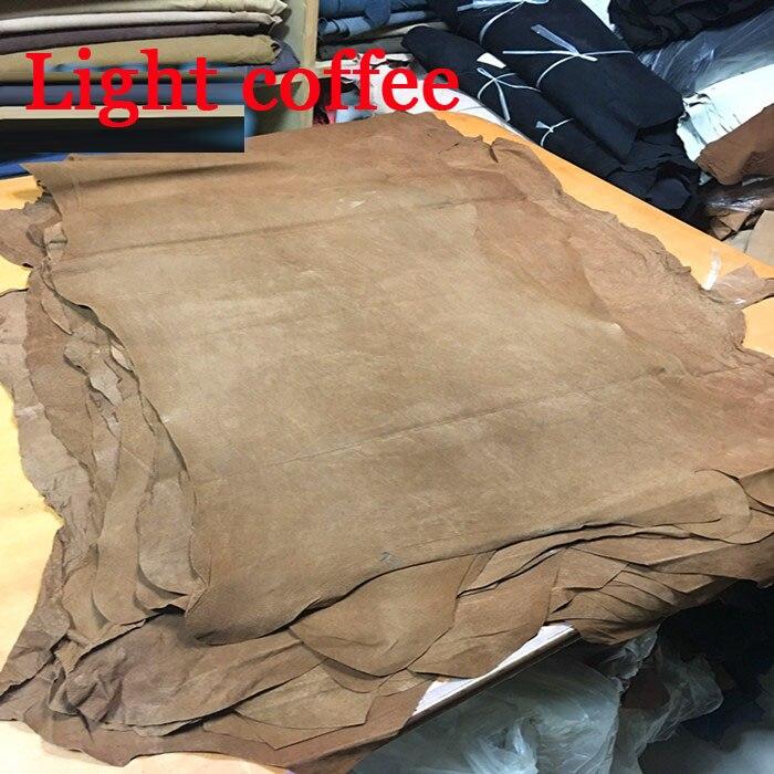Luz café genuíno porco dividir material de couro camurça peça inteira
