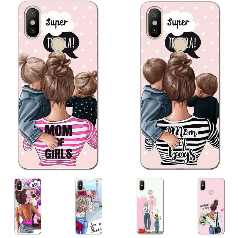 Fashion Black Brown Hair Baby Super Mom Girl Queen 01 Case Silicone TPU Cover For Huawei P8 P9 P10 P20Lite P9LITE P10 P20Plus