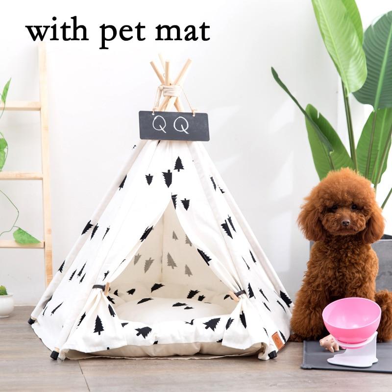 JORMEL mascota tienda perro gato juguete casa cachorro tipi portátil cama de mascota lavable patrón de pino contiene estera de mascota 2019 nuevo