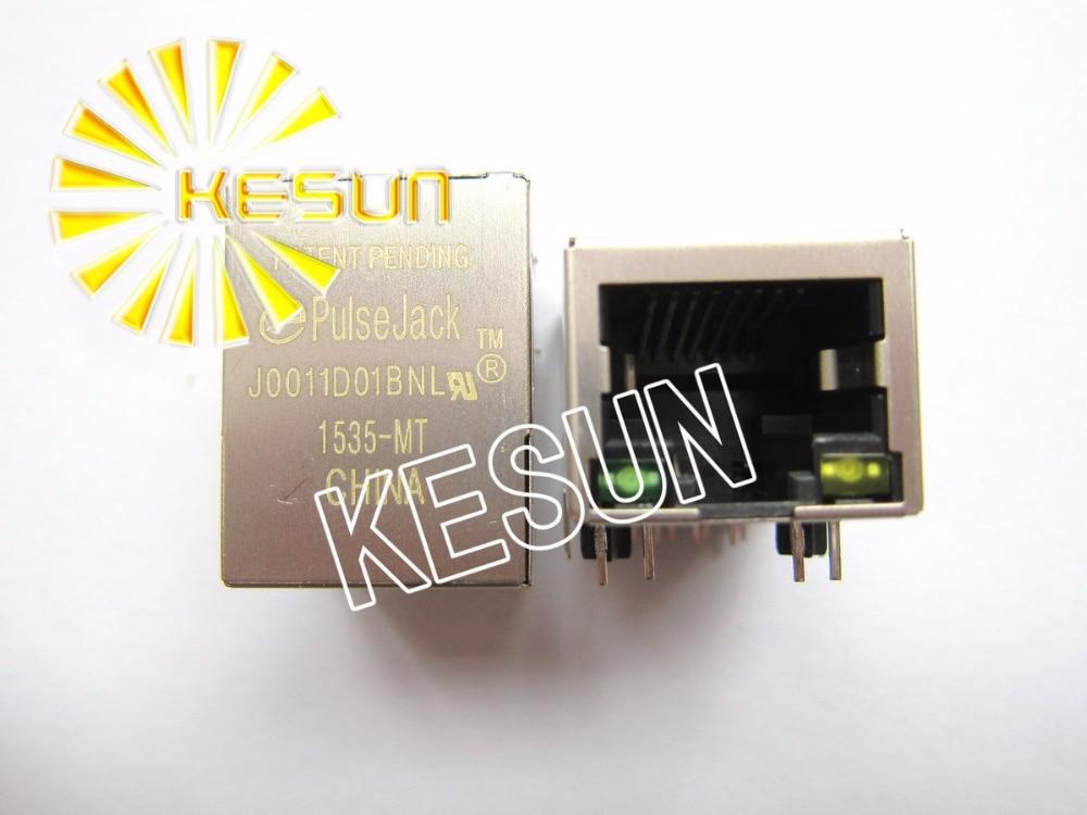 50 PCS x J0011D01BNL RJ45 Escudo tipo Com 10/100 M Transformador PCB Ângulo Direito Fêmea Modular Tomada de Rede LAN Conector