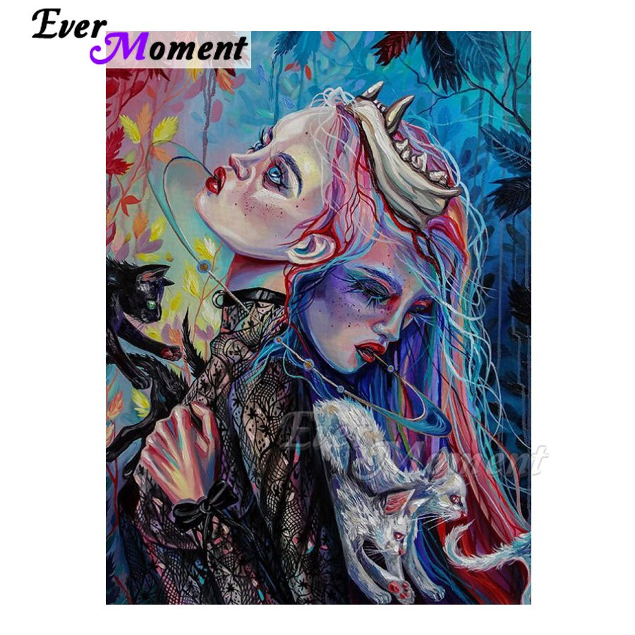 Ever Moment Diamond Painting Handmade Full Square Woman Cat 5D DIY Diamond Embroidery Diamond Embroidery Mosaic Decor 3F678