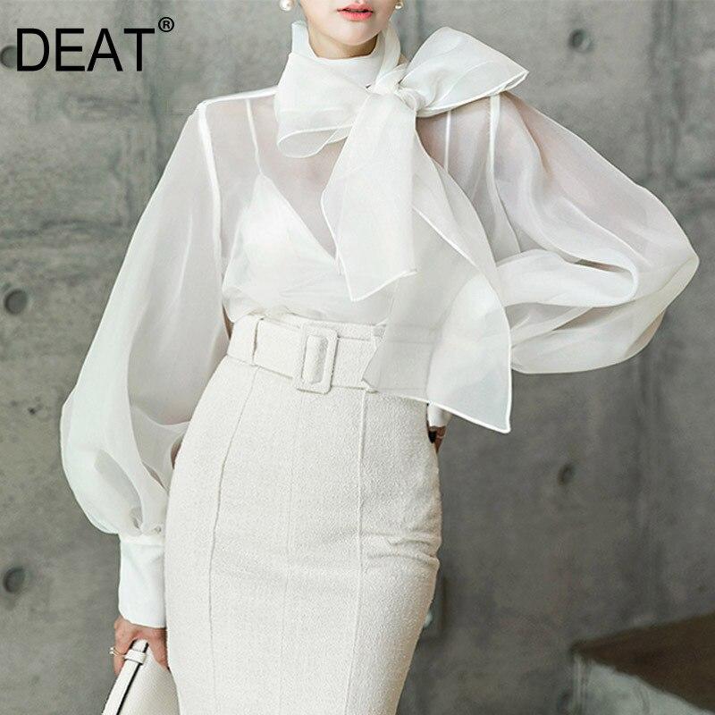 DEAT 2020 Neue Frühling Sommer Mode Frauen Kleidung Bogen Kragen Laterne Ärmel Organza Sexy Hemd Weibliche Bluse WD35100L