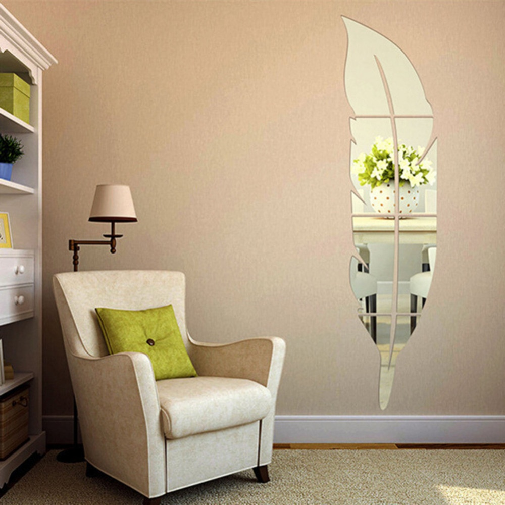 Pegatina de pared con forma de pluma bonita, pegatinas decorativas de superficie de espejo 3D para sala de estar, dormitorio o casa