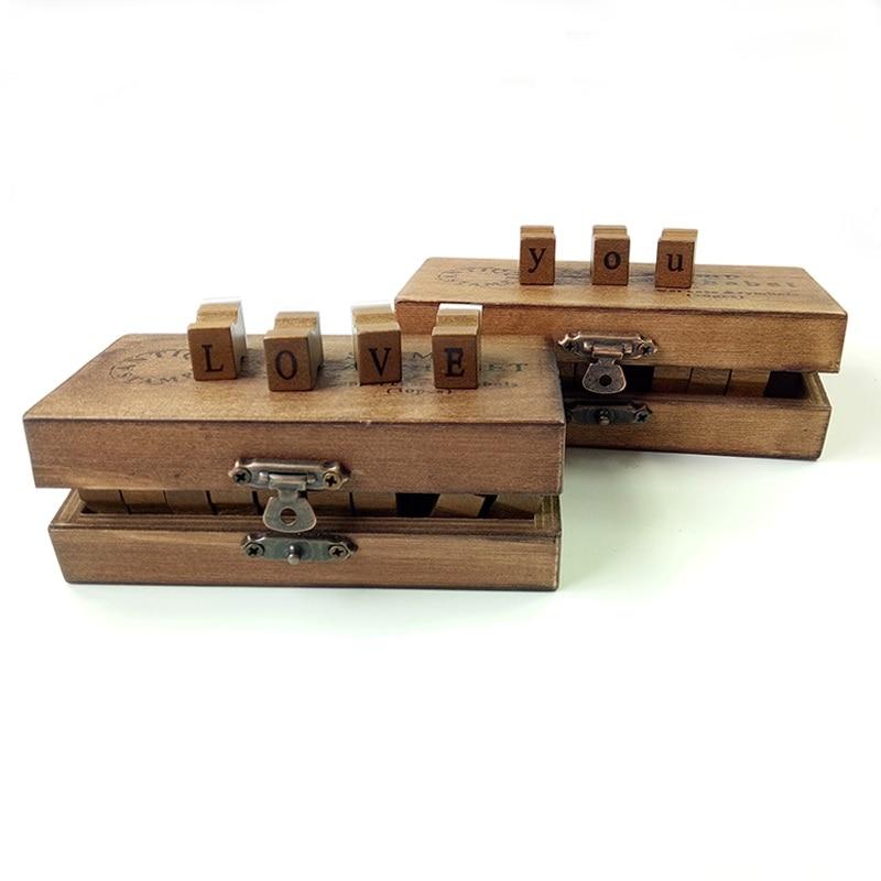 30 Pcs/set Retro Vintage Romantic Design Uppercase&Lowercase Letter  Wooden Craft Box Alphabet Letter Stamp Rubber Stamp