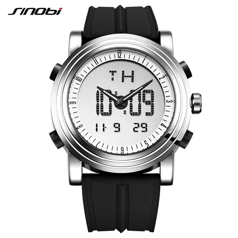 SINOBI Relógio Do Esporte Das Mulheres Dos Homens Relógios De Pulso Digitais Dual Display Relógio Top de Luxo Da Marca De Silicone De Quartzo Feminino Masculino 2020 xfcs nova