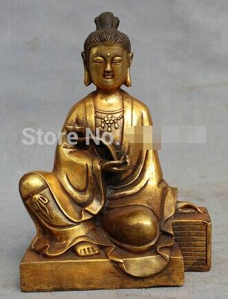 Frete grátis Folk Budismo Chinês Bronze Gilt RuYi GuanYin Kwan-yin Deusa Estátua de Buda