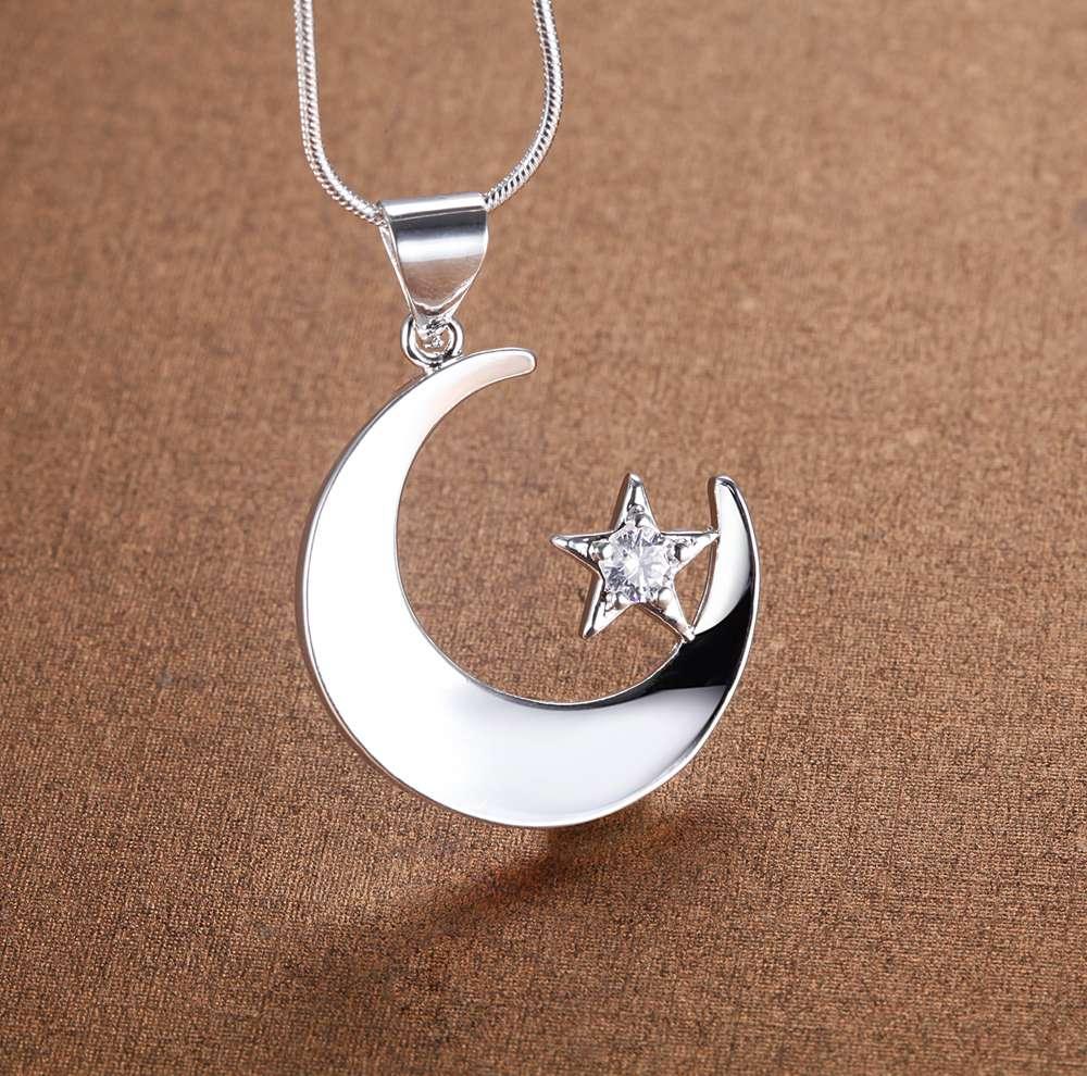 Estrela da lua de prata banhado a Colar Nova Venda prata colares & pingentes/SPEUPYLT XFUMFUXS