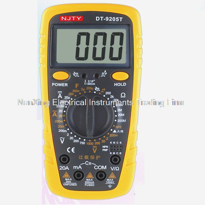 Chegada rápida DT9205T handheld multímetro digital, low-cost mesa universal multímetro proteção completa gama