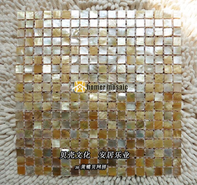 Azulejos de mosaico de concha dorada, mopa amarilla, mopa dorada, moño de perla, pared de cocina, Fondo de salpicaduras, azulejos de mosaico de pared a la moda
