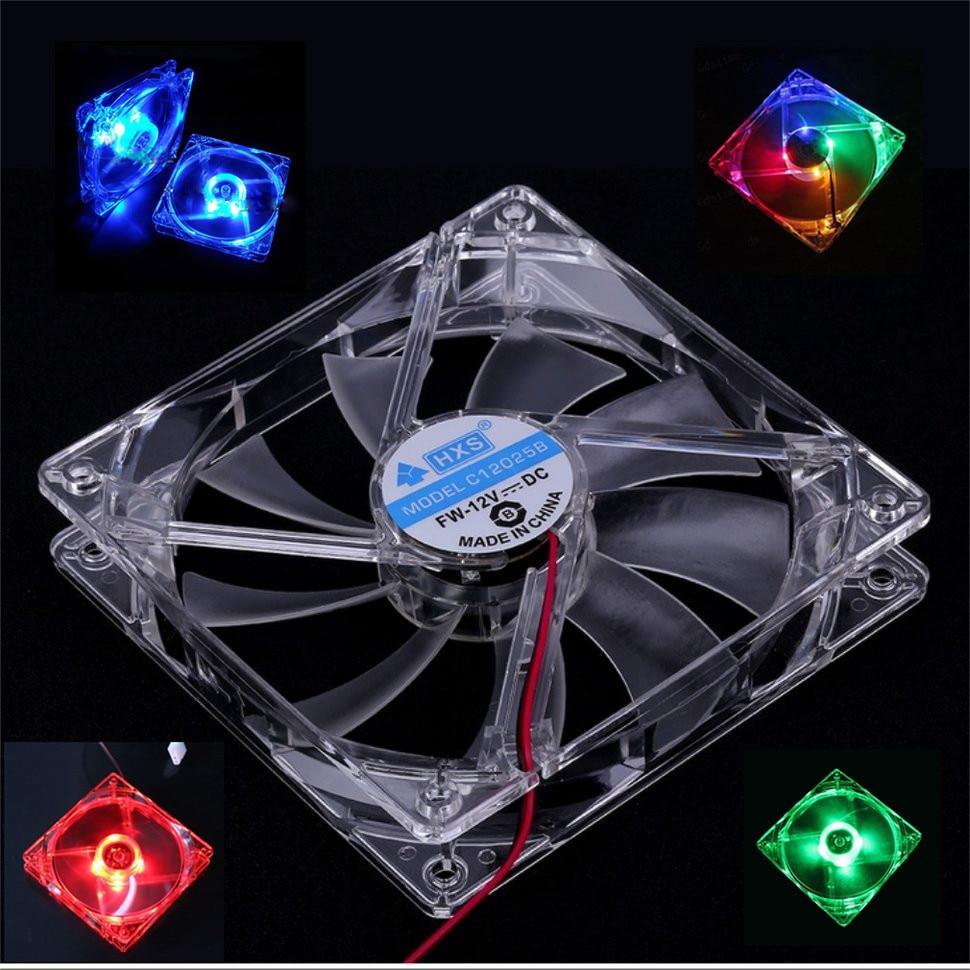 קירור מאוורר מחשב מאוורר Quad 4 LED אור 120mm מחשב מארז מחשב קירור מאוורר Mod שקט Molex מחבר קל להתקין מאוורר 12V