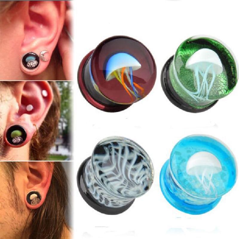 Romantic 8-16mm colorful jellyfish Glass Ear Plug Expanders Gauge Tunnel Body Piercing Jewelry Ear gauges