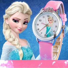 New relojes Cartoon Children Watch Fashion Cute Princess Watches For Kids Student Leather quartz Wat