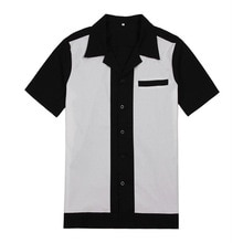 Casual erkek elbise gömlek kısa kollu Camiseta Retro Hombre Bowling düğme-aşağı gömlek Patchwork erkek gömlek düzenli Fit