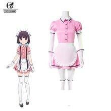 ROLECOS 5 couleurs mélange S Cosplay Costume Maika Sakuranomiya Cosplay Stile café sadique Anime Maid Costume femmes uniforme robe