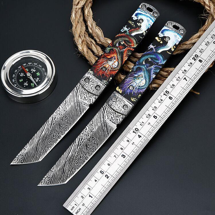 Cuchillo de camping de alta dureza, afilado, para exterior, cuchillo de camping recto, EDC portátil multiusos