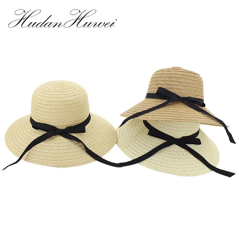 Verano de paja de papel, mariposa nudo mujeres playa sombreros de sol casuales de las señoras de ala ancha Sombrero de cubo de mujer chicas plegable Sombrero