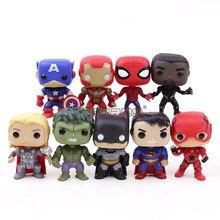 Marvel DC Super Heroes Avengers Captain America Iron Man Spiderman Schwarz Panther Thor PVC Action Figure Spielzeug 9 teile/satz