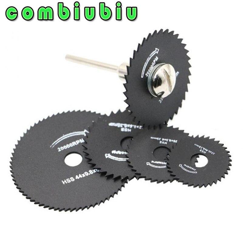 Combiubiu 5Pcs 22/25/32/35/44mm HSS Saw Blades For Metal Dremel Rotary Tool Cutting Discs Wheel + 1 Mandrel