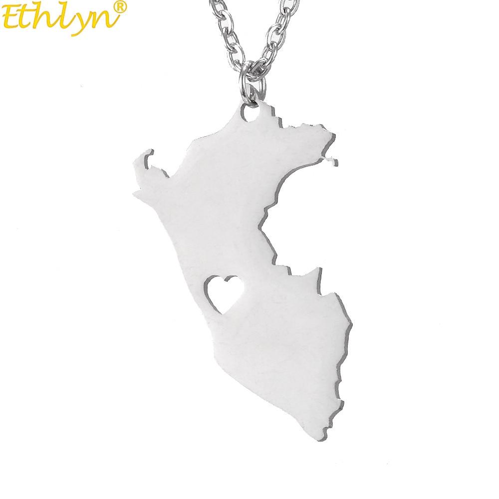 Ethlyn оптовая торговля из нержавеющей стали популярная страна Карта Ожерелье Перу карта кулон Южная ювелирные изделия из Америки P171
