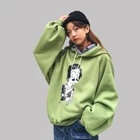 women sweatshirts winter harajuku pullover thick loose cap casual coat hoodies embroidery sweatshirts feminino oversizes cartoon