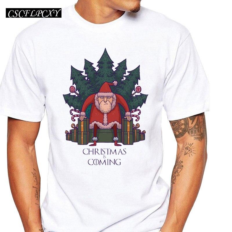 Camisetas De Santa of Thrones para hombre, camisetas de manga corta con cuello redondo, Camisetas estampadas de Navidad
