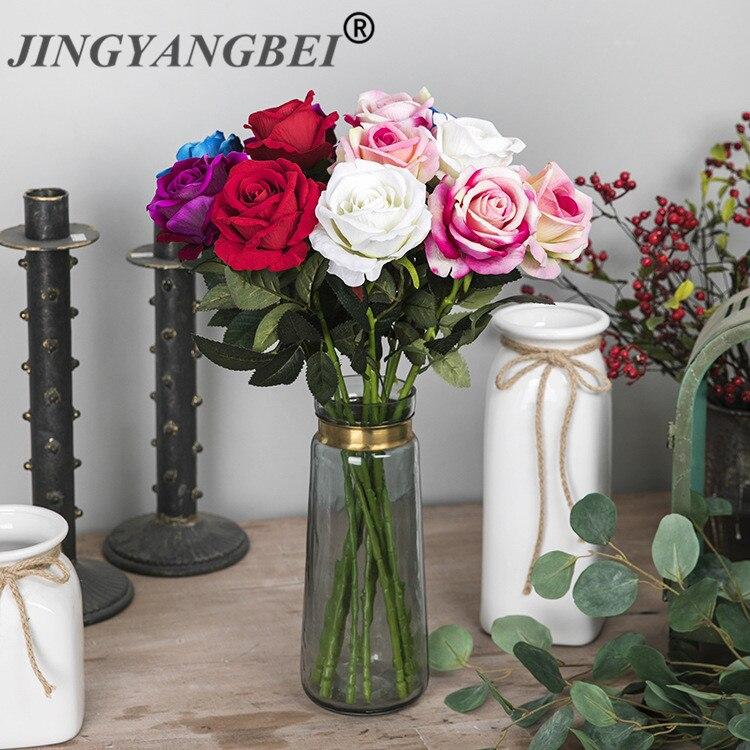 Flor Artificial de seda rosa roja jardín fiesta en casa celebraciones boda lugares públicos decoración del Festival 50cm
