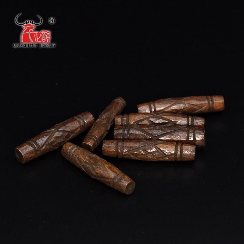 5 pçs osso de iaque esculpido grânulo colar diy contas dispersas artesanal mão-corrente decorativa patte tubular contas marrons 7x30mm buraco 2mm