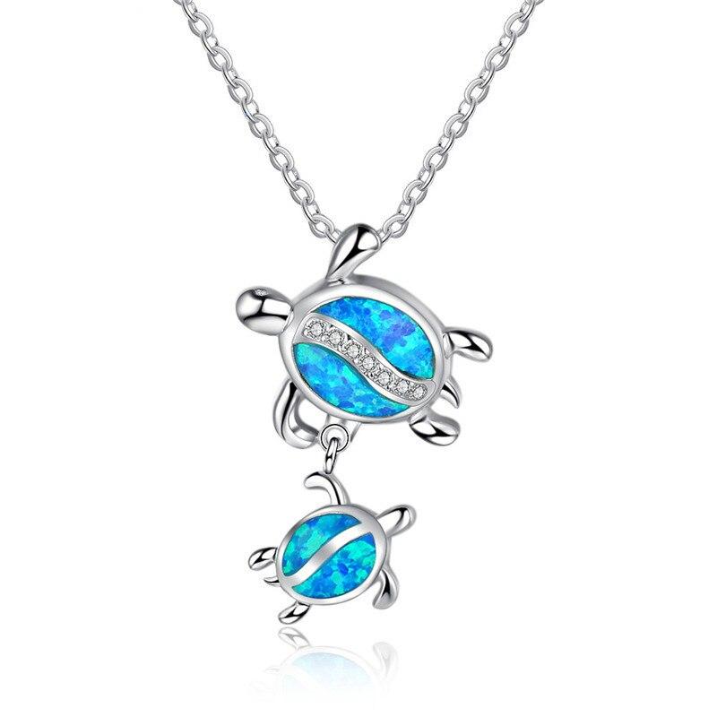 Moda prata cheia azul opala tartaruga pingente colar feminino animal casamento oceano praia jóias presente