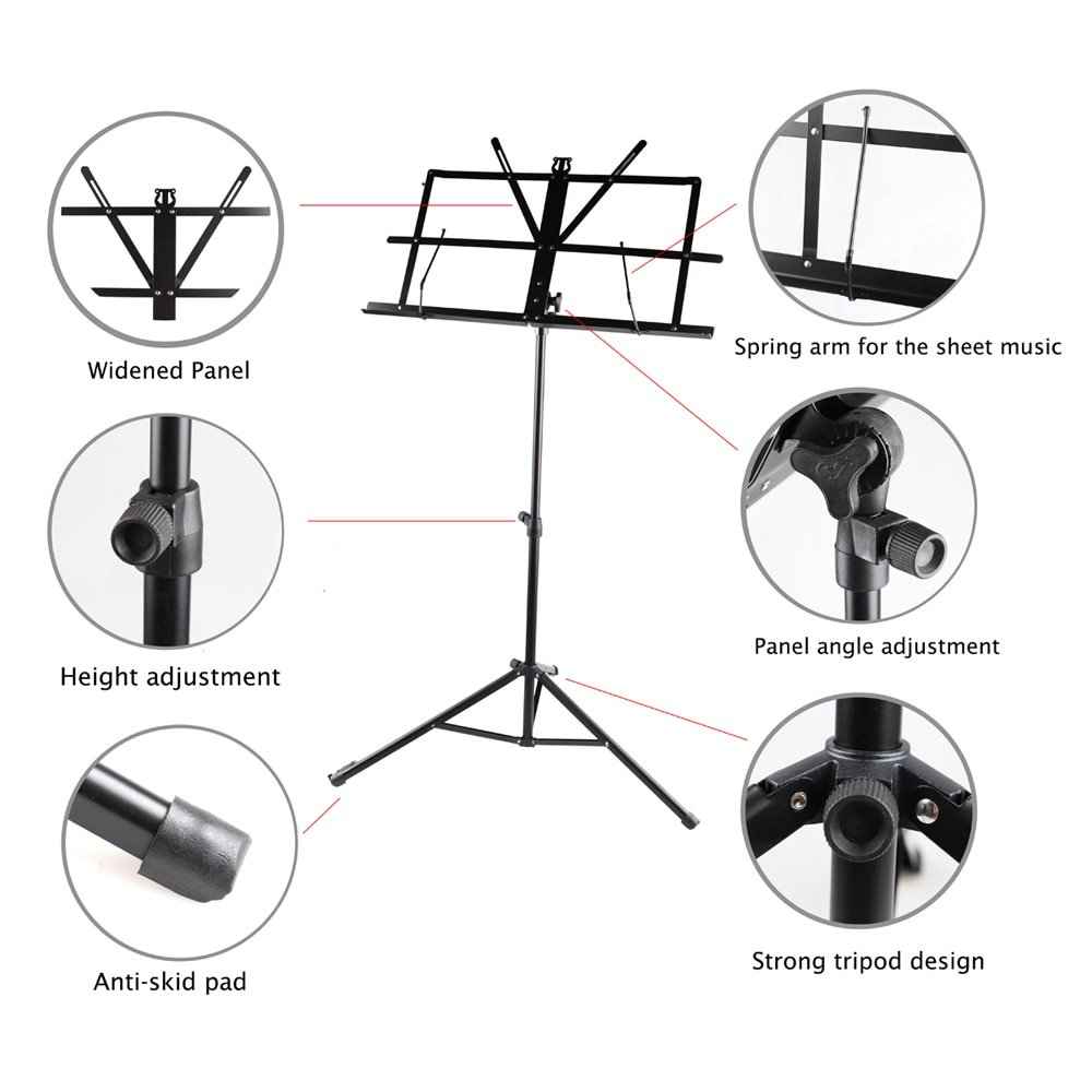 Adjustable Folding Orchestra Sheet Music Aluminum Alloy Tripod Stand Holder Lightweight Music Sheet Stand with Carrying Bag Caes enlarge