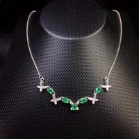 this years most popular style natural emerald necklace 925 silver fashion girls simple fashion