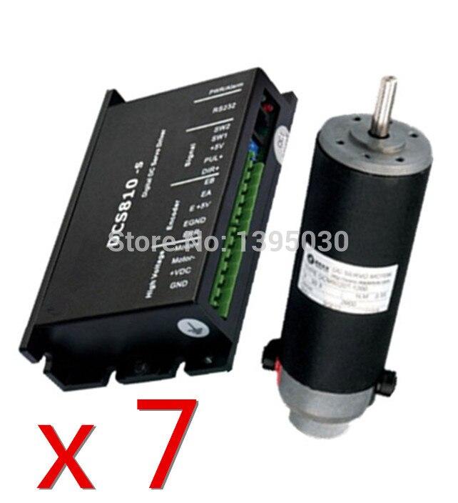 7 juegos (Drive + Motor) 120W DC servoaccionamiento DCS810S + Motor DCM50207-1000 cepillo DC18-80V 30.3VDC 2900RPM
