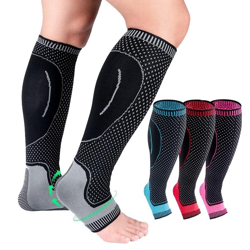1 par de malha correndo ciclismo perna aquecedores elástico tornozelo protetor para futebol basquete esportes perna bezerro compressão mangas
