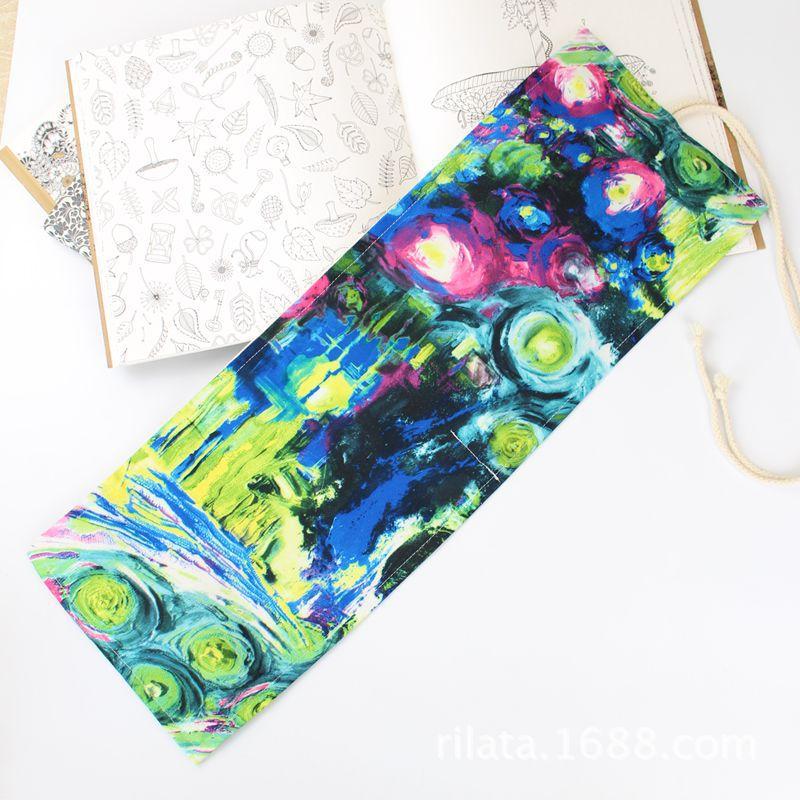 Bolsa de almacenamiento de cortina de lápiz de lona de algodón 36/46/72 agujeros de pintura abstracta de la pluma 1114-6