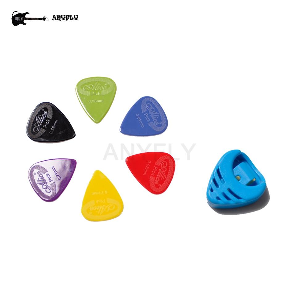 6 uds púas de guitarra Alice AP-G, púas eléctricas acústicas (grosor surtido) + estuche de soporte de púas de guitarra de plástico