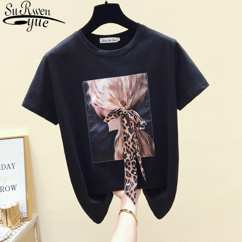 Camiseta blanca coreana, camiseta negra informal para mujer, ropa para mujer, camiseta de manga corta de verano con cuello redondo, camiseta Vintage, Tops 4862 50
